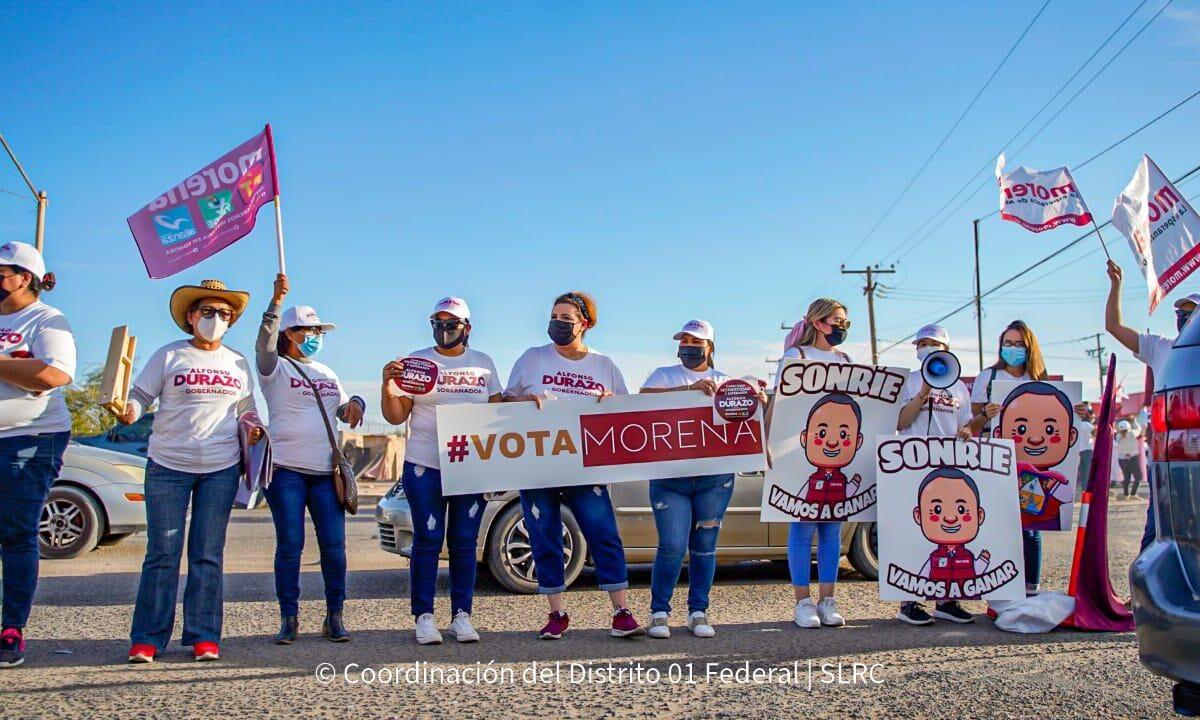 Morenistas de SLRC salen a los cruceros de la ciudad apoyar a Durazo