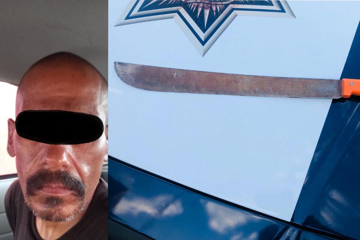 Detiene la Policía Municipal a persona armada con machete